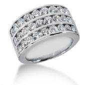 14K 3 Liner Round Brilliant Diamond Anniversary Ring (2.43ctw.)