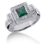 14K Emerald Princess Cut Diamond Anniversary Ring (0.42ctw.)