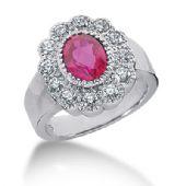 14K Ruby, Round Brilliant Diamond Pave Set Ring (0.6ctw.)