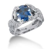 14K Oval Sapphire, Round Brilliant Star Clasped Ring (1.98ctw.)