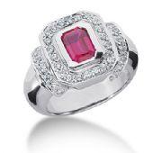 14K Bezel Set, Emerald Cut Ruby Diamond Anniversary Ring (1.63ctw.)
