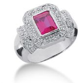 14K Beautiful Emerald Cut Ruby, Surrounded by Round Brilliant Diamonds (0.19ctw.)