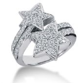14K Shooting Star Styled Round Brilliant Diamond Anniversary Ring(0.94ctw.)