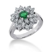 14K Floral Emerald Centered,Prong Set Round Brilliant Diamonds  (1.22ctw.)