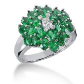 14K Floral Emerald Champagne Diamond Anniversary Ring (4.64ctw.)
