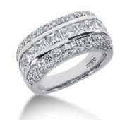 18K Princess Cut Center, Round Brilliant Diamond Anniversary Ring (3.25ctw.)