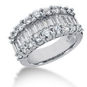 18K Straight Baguette, Surrounded Round Brilliant Diamond Ring (3.88ctw.)