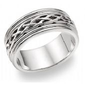 14k Gold 8mm Celtic Weave Wedding Band C4001