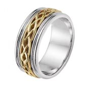 14k Gold 8mm Two Tone Celtic Weave Wedding Band C4004