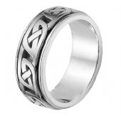14k White Gold Celtic Knot  Wedding Band 4018