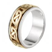 18K Gold Two Tone Celtic Knot  Wedding Band 4017