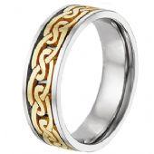 18K Gold Two Tone Celtic Wedding Band 4019