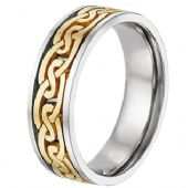 950 Platinum & 18k Gold Two Tone Celtic 4019 Wedding Band