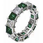 14k Shared Prong 2.70 Carat Emerald & Diamond Eternity Band