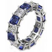 14k Shared Prong 2.70 Carat Sapphire & Diamond Eternity Band