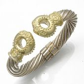 14K Two Tone Queen Royal Almani Design Handmade Bangle