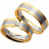 14k His & Hers Two Tone Gold 0.10 ct Diamond 044 Wedding Band Set HH04414K